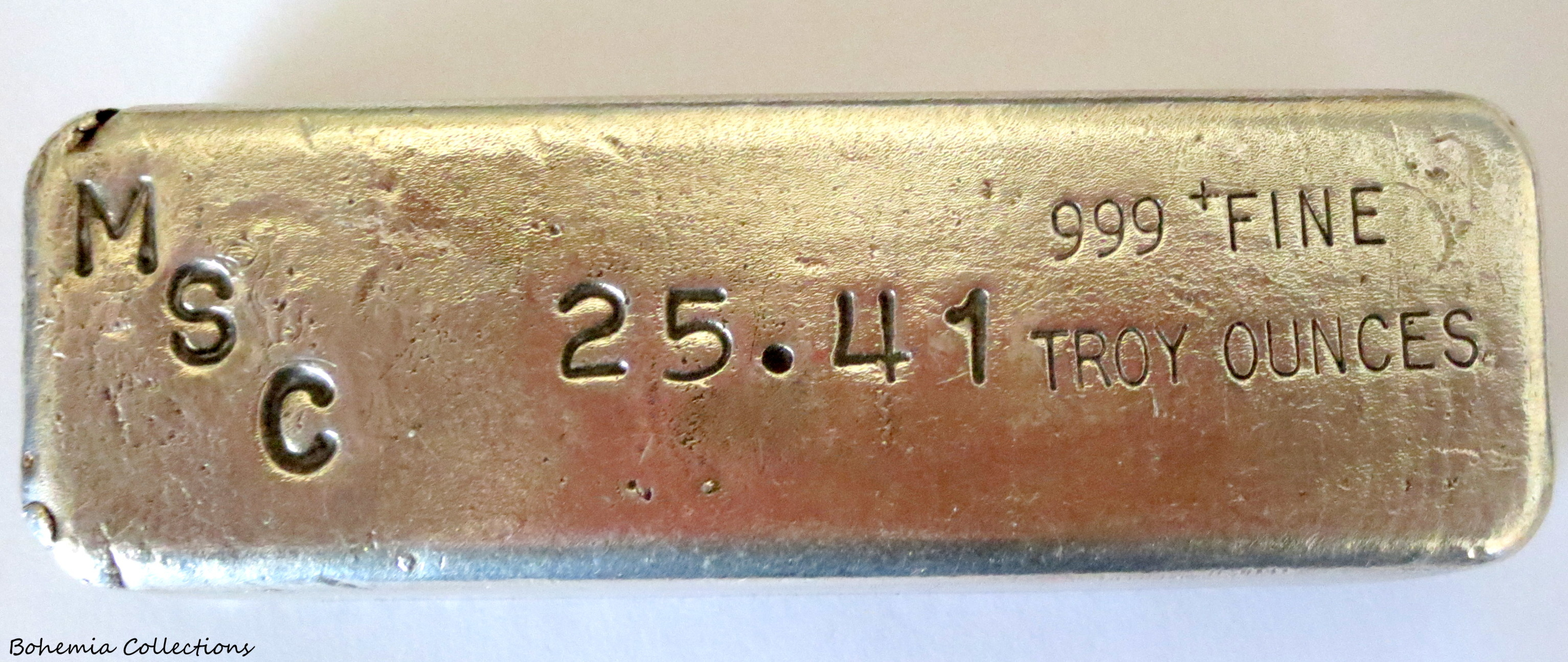 Msc 25 Troy Ounce Silver Bar Poured